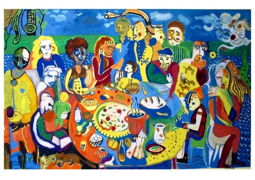 Collective freestyle mural painting, A free society  where everybody can sit at the table equally