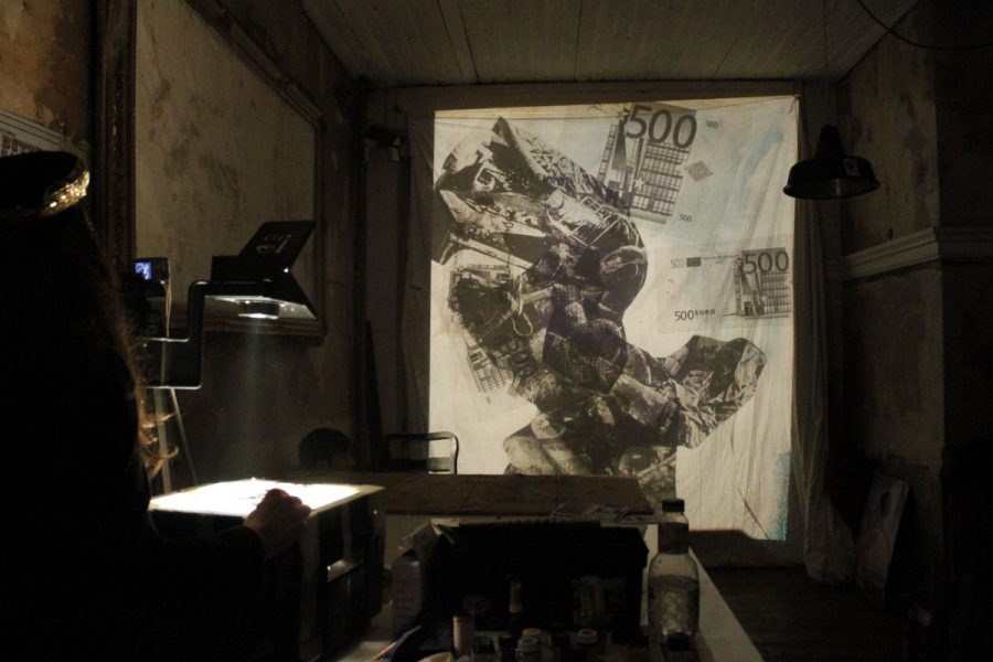 Overheadprojections - live painting  and Digital live sounds from M.Stagi