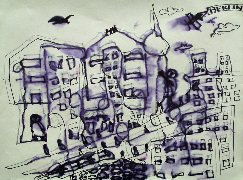 GS, On Berlin roofs, 2007, alcohol on ink on paper, 70x50 cm ca.