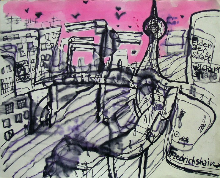 GS, Warschauerstr. Berlin, alcohol on ink on paper, 70x50 cm ca.