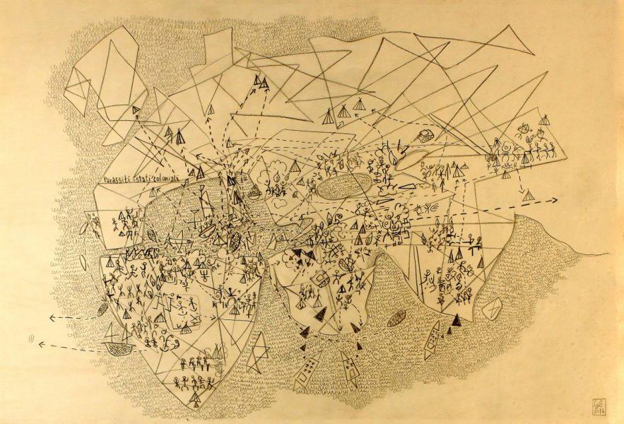 GS, Parassiti= Stati coloniali, 2014, lapis su carta, 70x50 cm