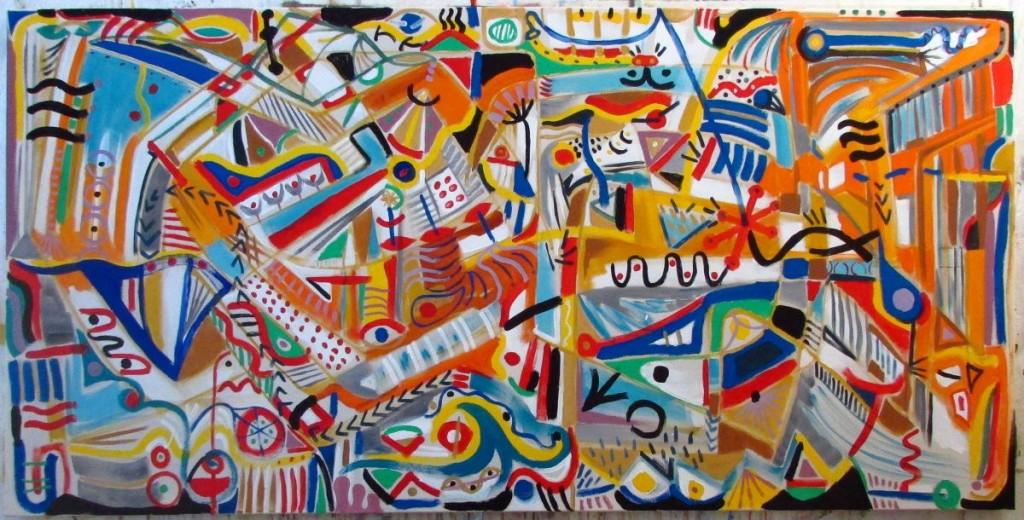 RueDeLaFreak, Magic garden, 2014, acryl on canvas, 200x100 cm