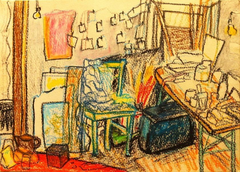 GS, Artist atelier, 2010, oil pastel on paper, 35x25cm