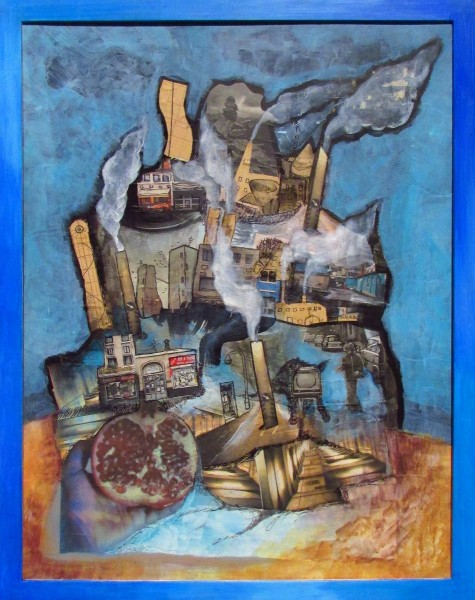 GS, Babylon Again!, 2010, mixed media on canvas, 50x64 cm, Private collection