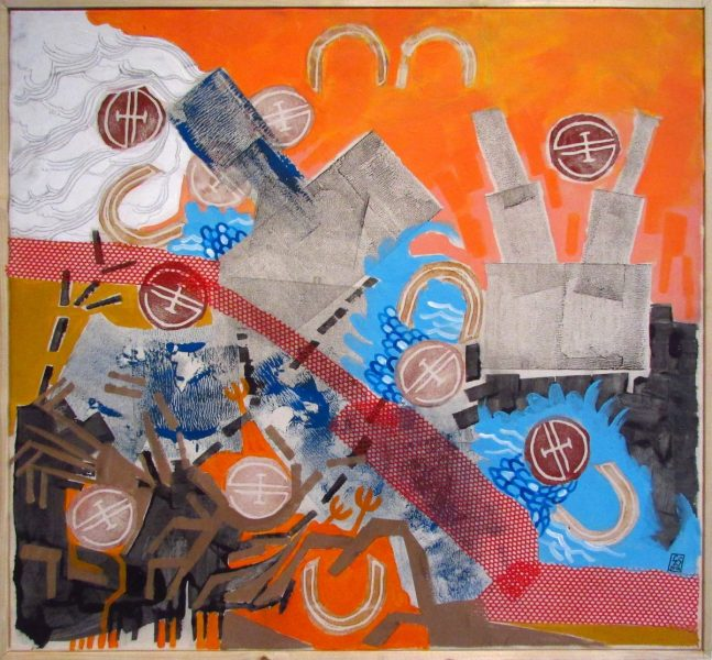 GS, Sunset with fenses and industrial complex, 2015, mixed media on canvas, 75x70cm, Private collection
