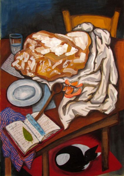 GS,Still life with bread, book and cat, 2015, acryl on canvas, 70x100.