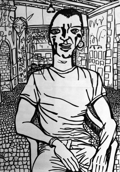 GS, Mario al Forte Prenestino al Crack Festival, 2015, marker on paper, 50x70 cm