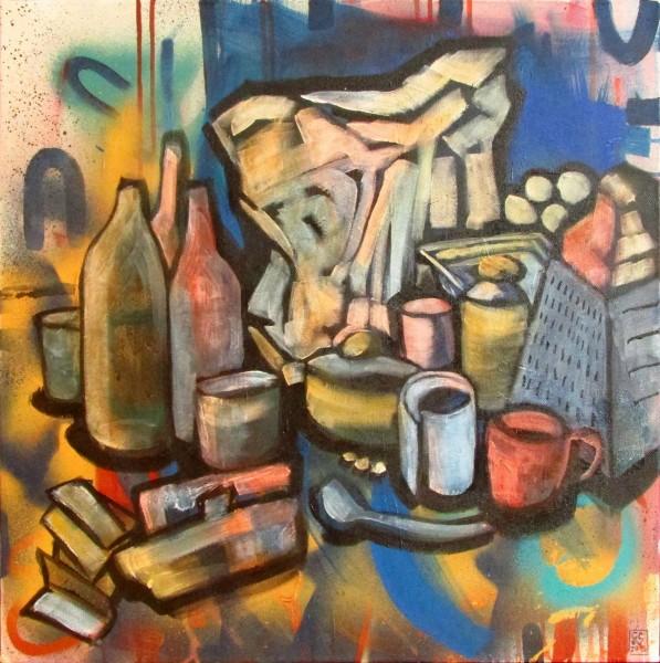 GS, Still life and spray, 2015, acryl on spray lack on canvas, 60x60 cm
