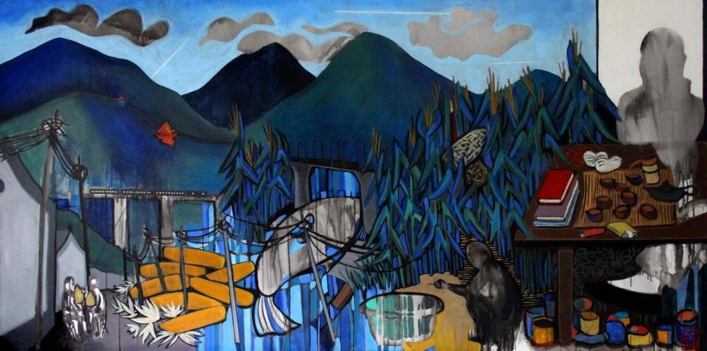 GS, At Shayukou village, 2015, acrylic on canvas, 200x100 cm