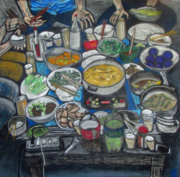 GS, Huo Guo, 2015 acrylic and oil pastel on canvas, 120 x120 cm