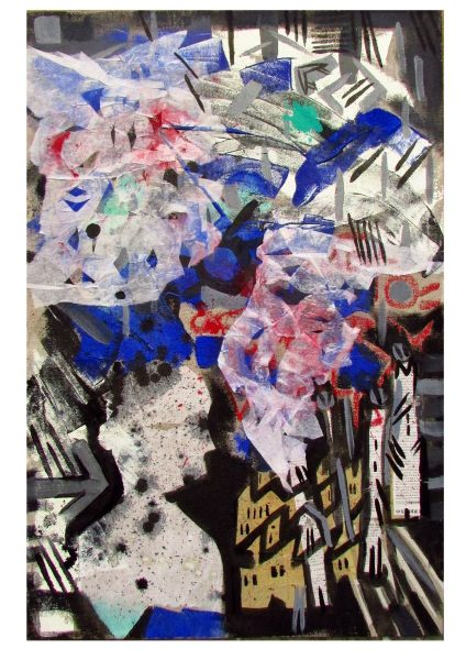 GS, Tianjin Explosion, 2015, mixed media on canvas, 60x90 cm