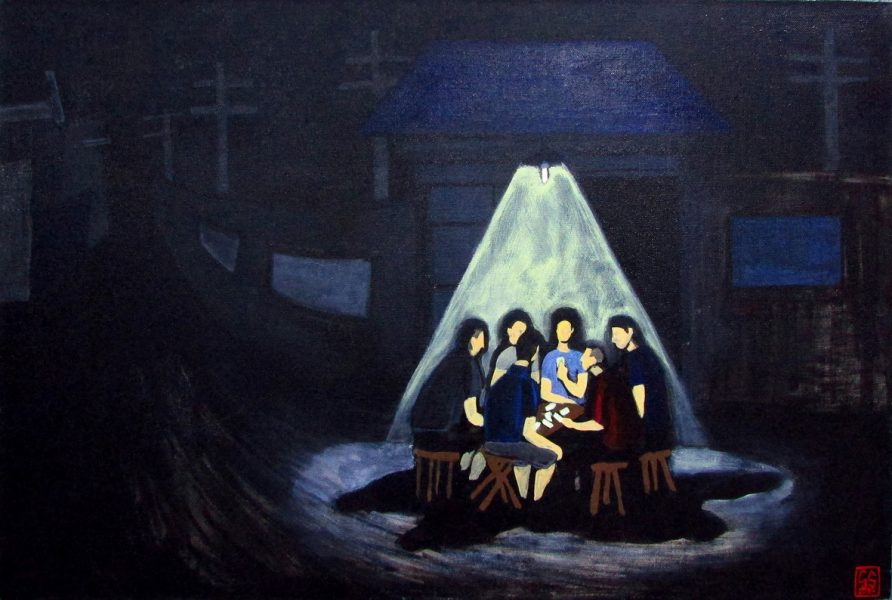 GS, Cardplayers at night in Shayukou, 2015, acrylic on canvas, 90x60 cm