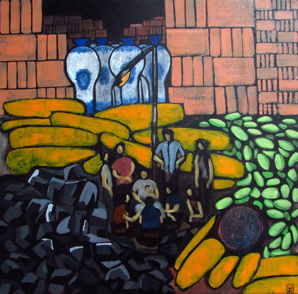 GS, Farmers playing cards in Beshicao, 2015, acrylic on canvas, 50x50 cm