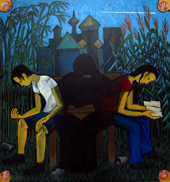 GS, The kiss, 2015, acrylic on canvas, 150x150 cm, collection of the Shangyuan Art Museum