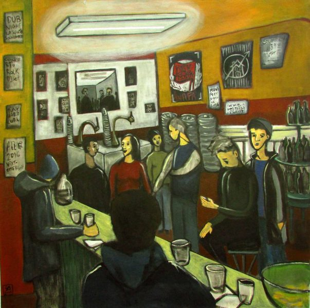 "GS, ""Al Bar del Next Emerson"", 2016, acrylic on canvas, 80x80cm"