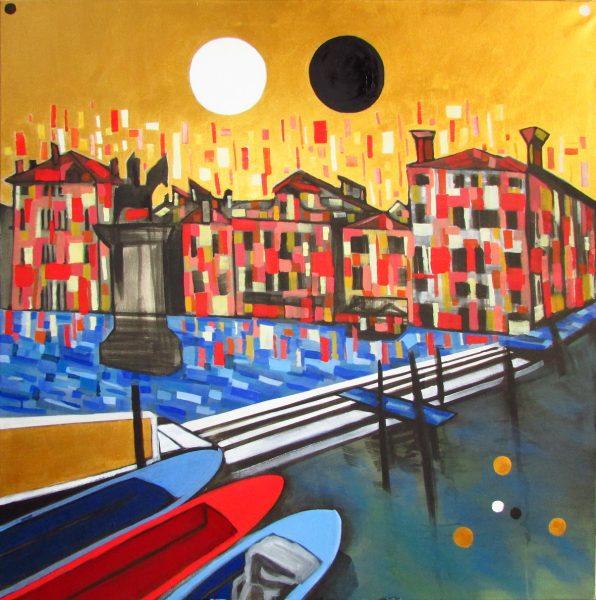 GS, Venezia, 2017, acrilico su tela, 100 x 100 cm